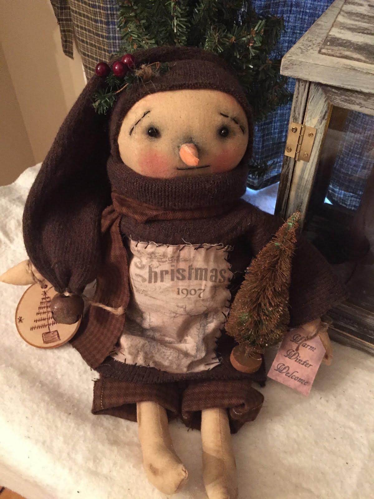 OOAK Christmas 1907 Sitting Snowman