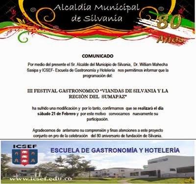 """CUNDINAMARCA: III FESTIVAL GASTRONÓMICO """"VIANDAS DE SILVANIA Y LA REGIÓN DEL SUMAPAZ"""""""
