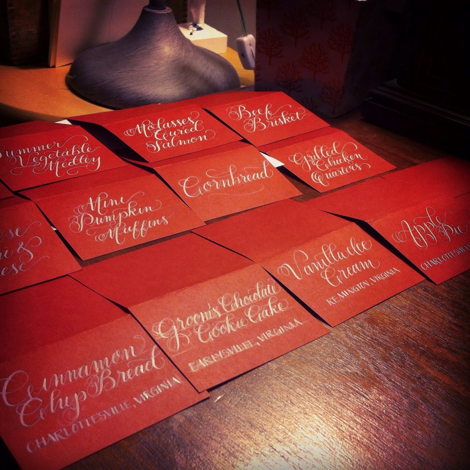 calligraphy wedding place cards