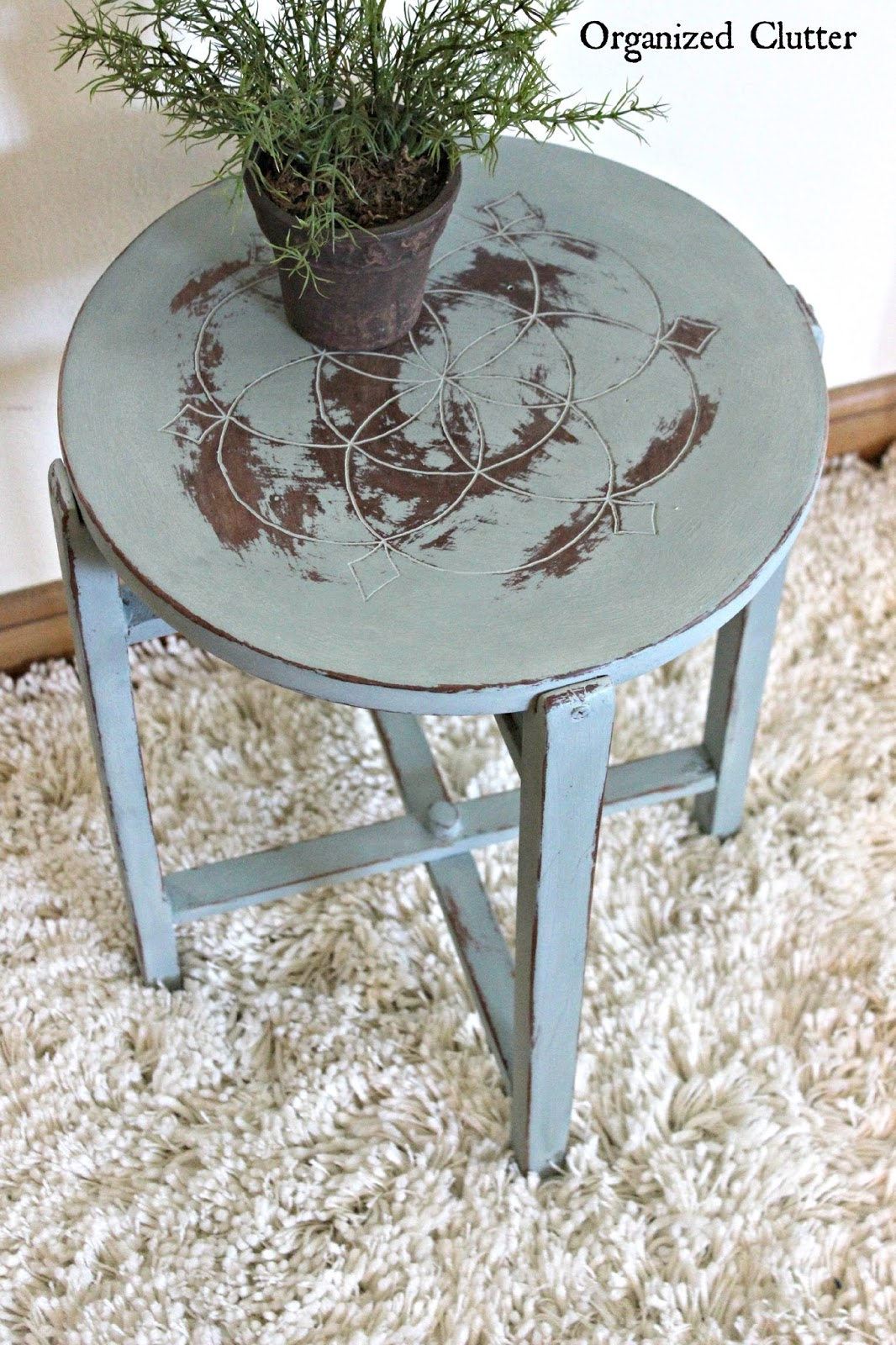 Duck Egg Blue Chalk Paint & Wet Distressing www.organizedclutter.net