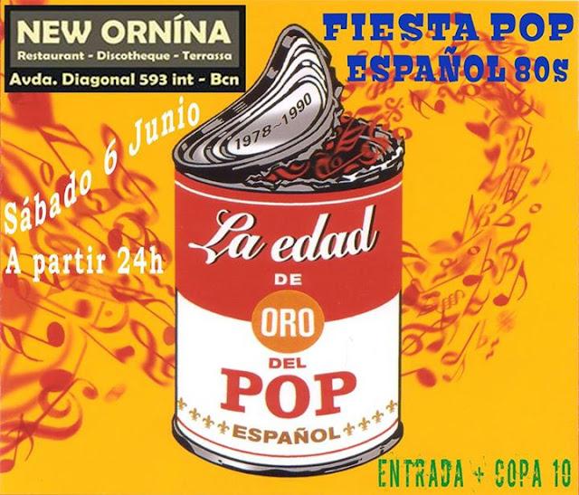 Flyer Fiesta Pop Español 80s