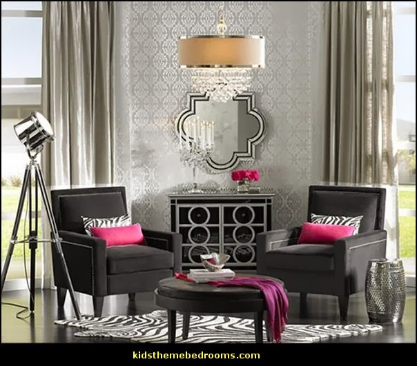 Glam Living Rooms   Old Hollywood Style Decorating Ideas   Luxe Living