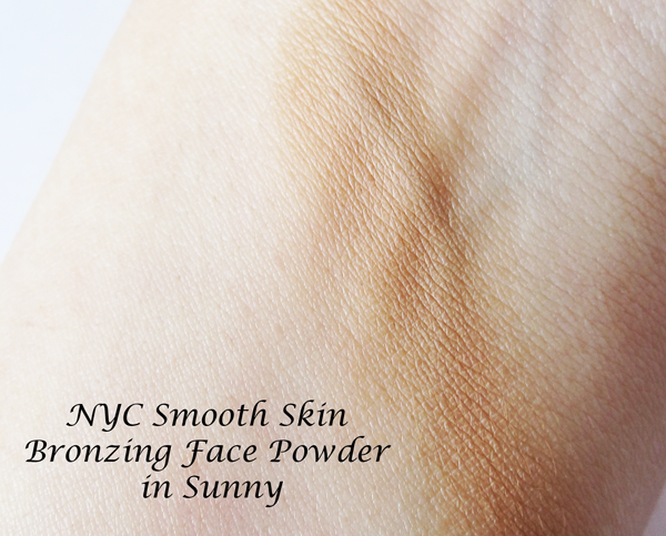 A picture of NYC Smooth Skin Bronzing Powder in Sunny swatches