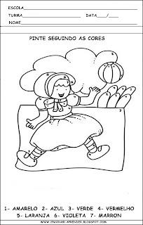 MODELOS DE ATIVIDADES PARA EDUCAÇÃO INFANTIL. PINTURA DIRIGIDA, TRABALHANDO COM CORES