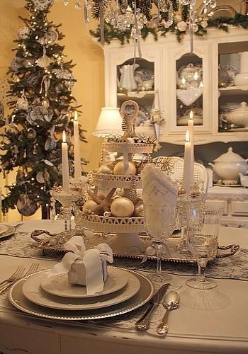 decoración- mesa de Navidad en blanco