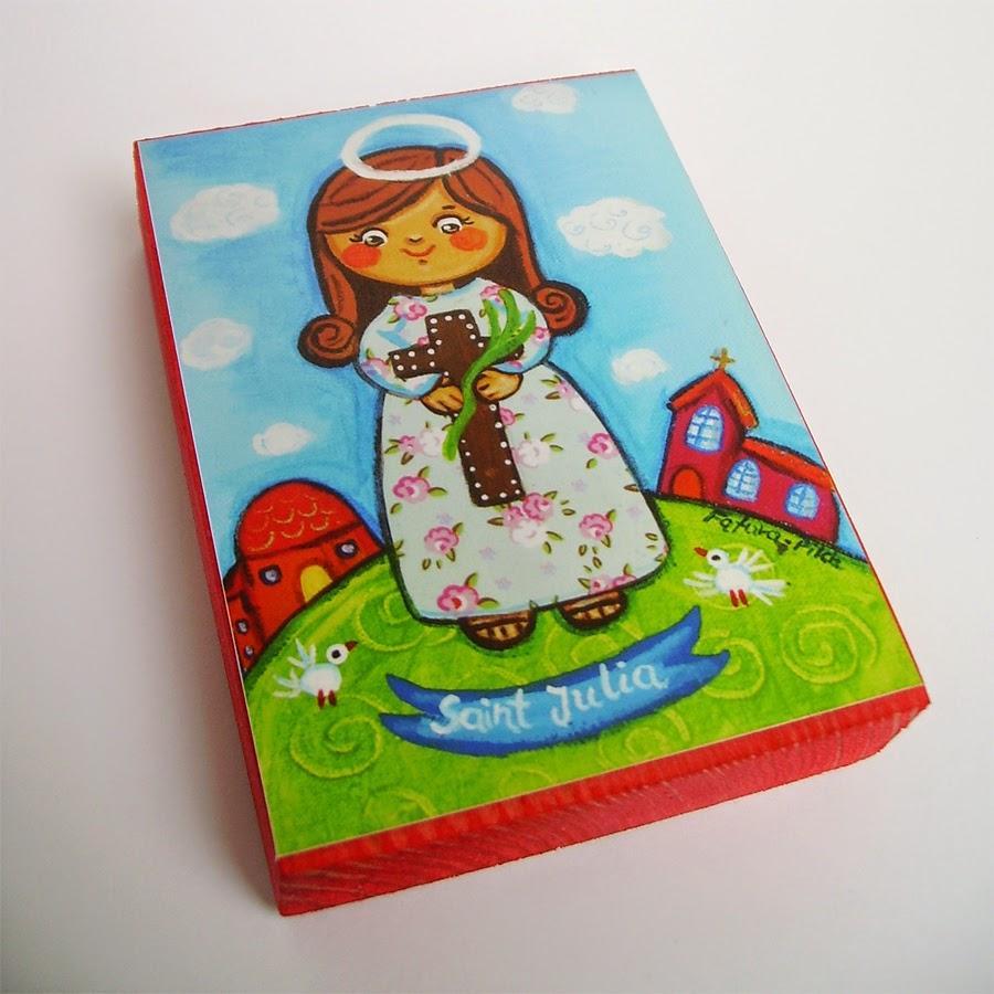 Drewniany obrazek obraz ilustracja święty święta Julia patron święci błogosławiona błogosławiony dla dziewczynki chłopca chłopczyka dziecka prezent upominek na gwiazdkę ozdoba dekoracja bożonarodzeniowa świąteczna Jezus Chrystus Matka Boska Różańcowa różaniec Maryja dziecko pamiątka chrztu chrzest pierwsza bierzmowanie komunia narodziny urodziny