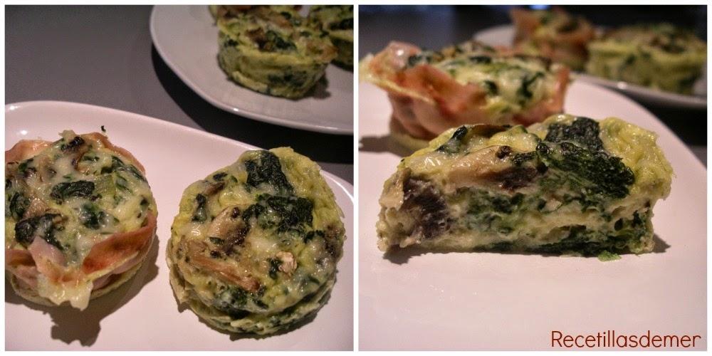 Recetillas de mer: pastelitos de espinacas y champiñones