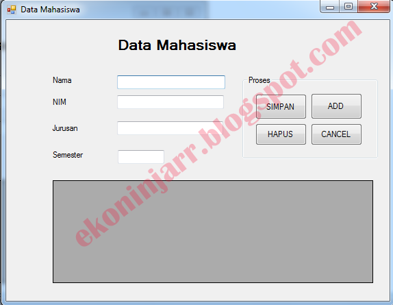 Aplikasi Data Mahasiswa di VB Net Dengan Database Acces 2007
