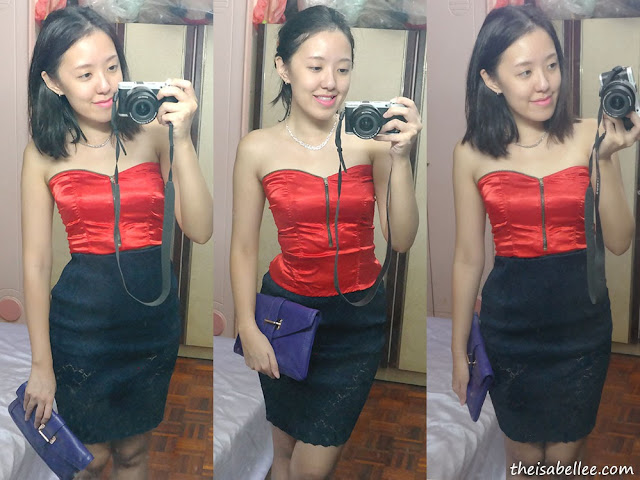OOTD for a night out with red corset and lace skirt