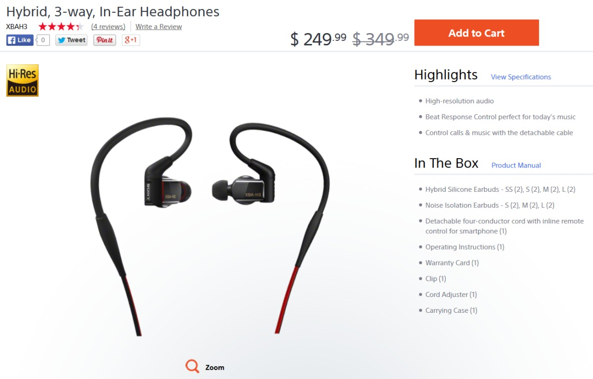 Sony XBA-H3 headphones