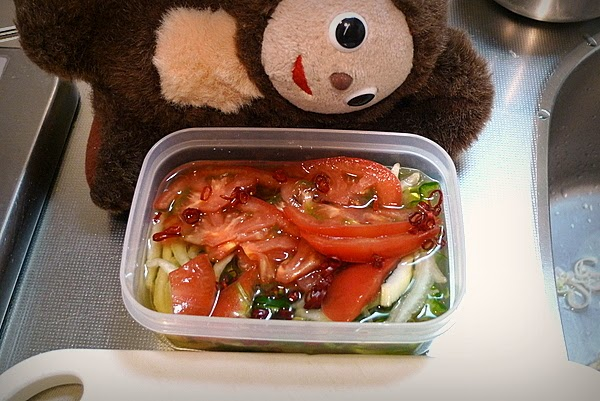 塩を入れない豆アジの南蛮漬けフレッシュトマト入りの作り方(2)