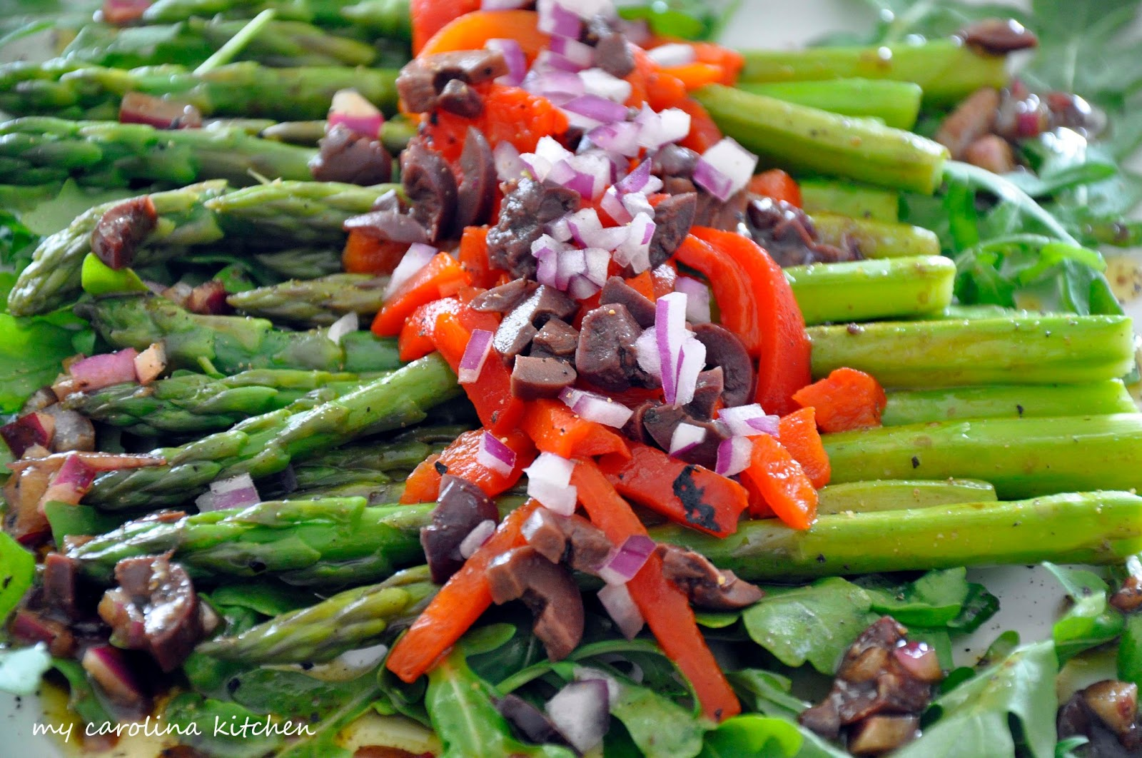 My Carolina Kitchen: Asparagus Salad on a Bed of Arugula with Roasted ...