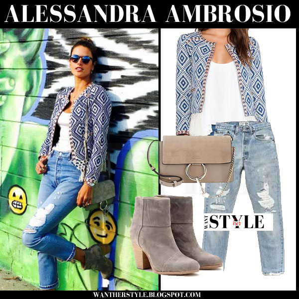 Alessandra Ambrosio in blue printed tularosa santa fe jacket, distressed jeans and suede ankle boots rag and bone what she wore