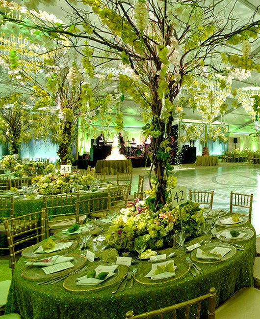 green wedding reception ideas