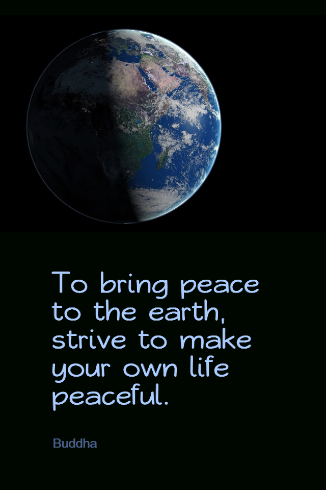 visual quote - image quotation for PEACE - To bring peace to the earth, strive to make your own life peaceful. - Buddha