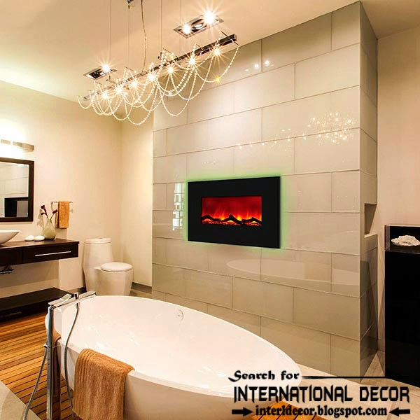 Contemporary Bathroom With Fireplace Designs Ideas, Electric Fireplace On  Wall 2015