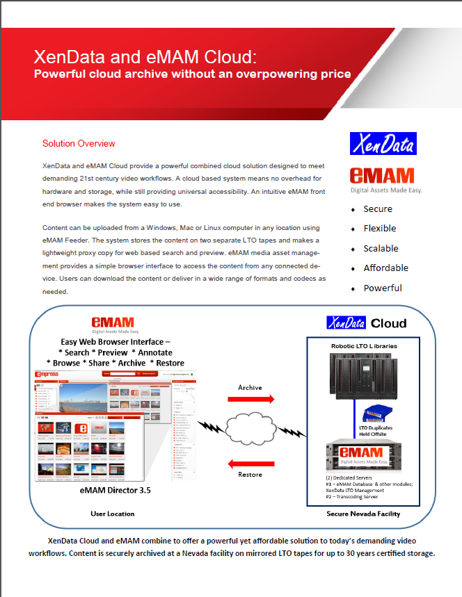 XenData and eMAM Cloud - Powerful cloud archive without an overpowering price