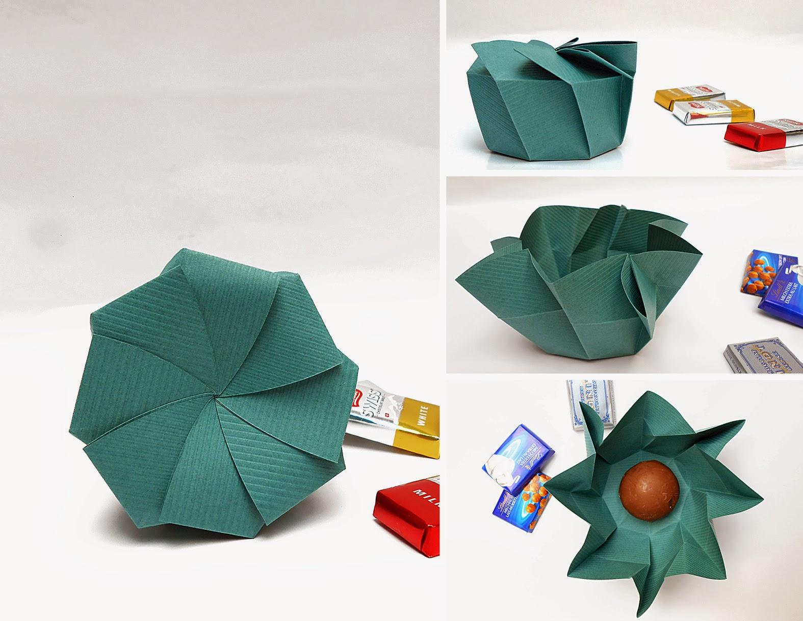 mas origami caja de regalo en espiral. Black Bedroom Furniture Sets. Home Design Ideas