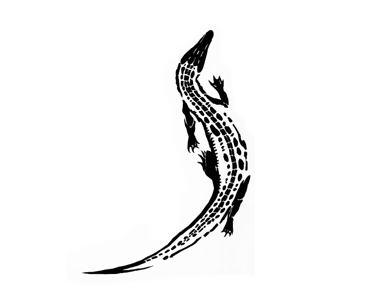 tribal crocodile not lizard tattoo design title=