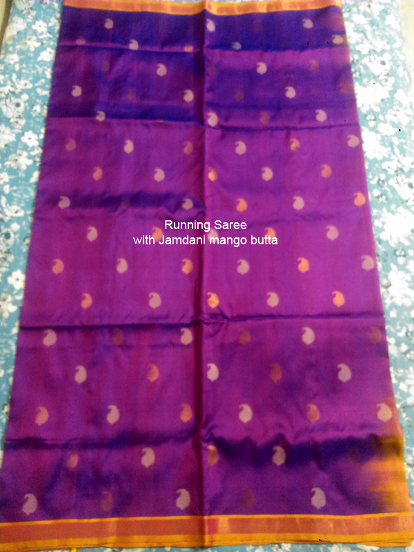 Uppada Jamdani Mango butta running saree silk saree