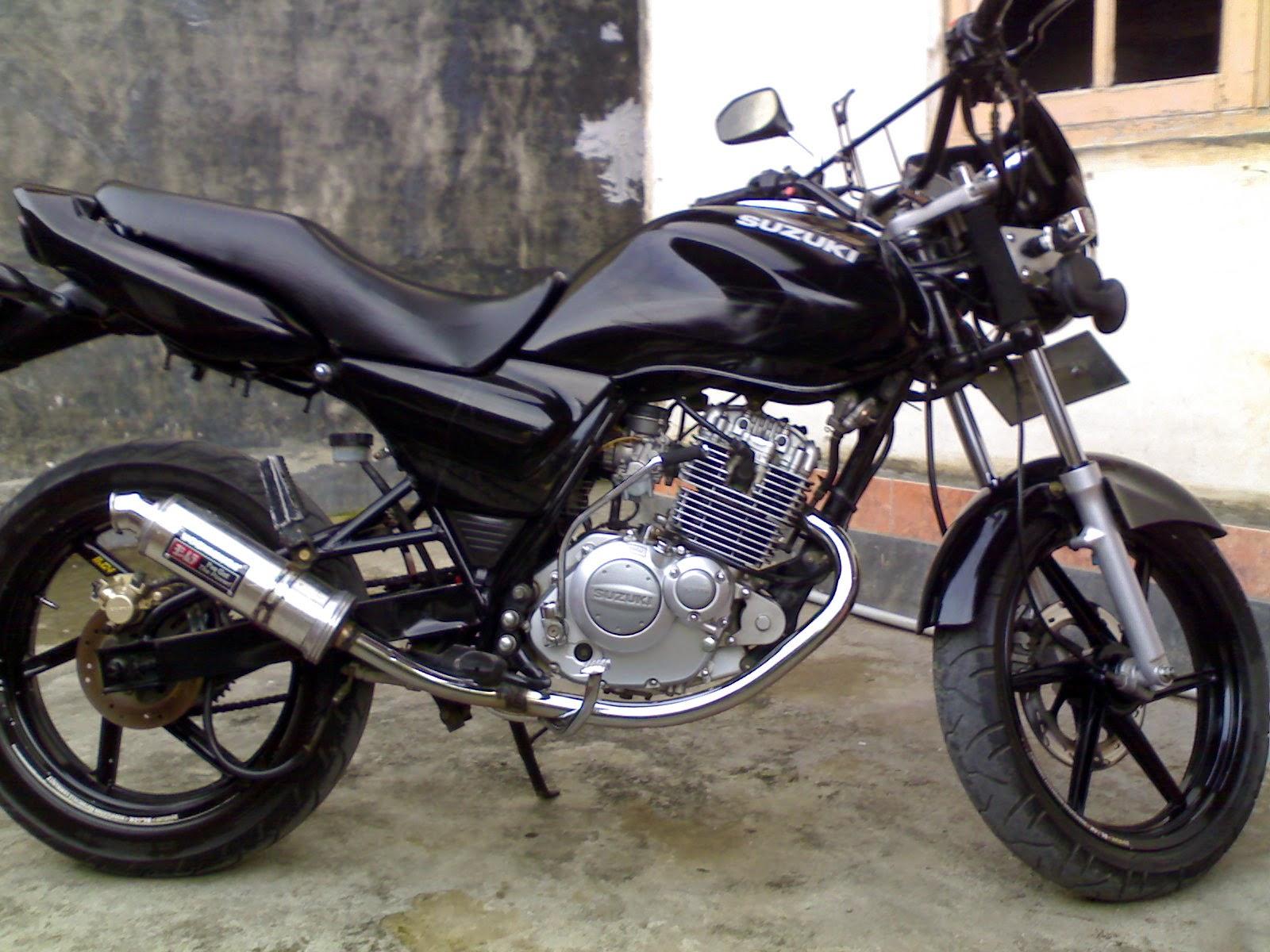 modifikasi motor suzuki thunder hitam