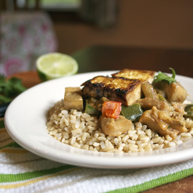 Eggplant and Sweet Pepper-Studded Red Curry: simplelivingeating.com