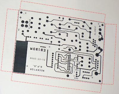placa de circuito impreso recortada