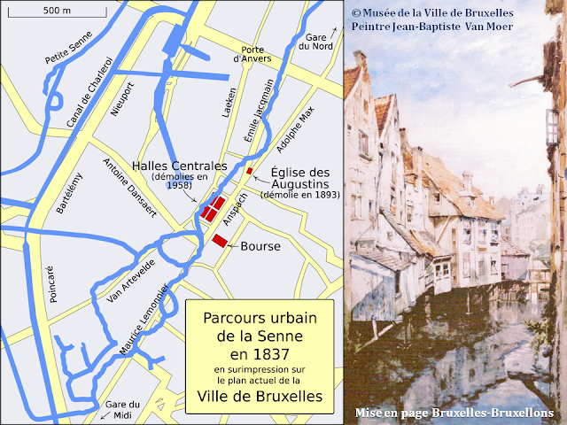 Bruxelles, les pieds dans l'eau de la Senne - Bruxelles disparu - Parcours urbain de la Senne en 1837 - Bruxelles-Bruxellons