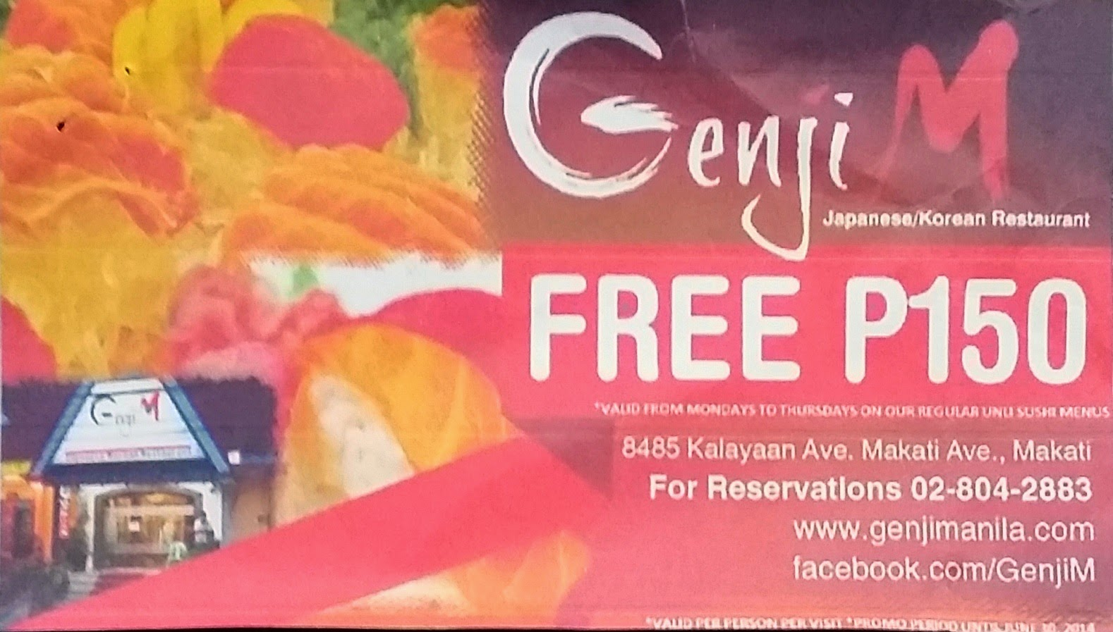 genji m lunch promo coupons