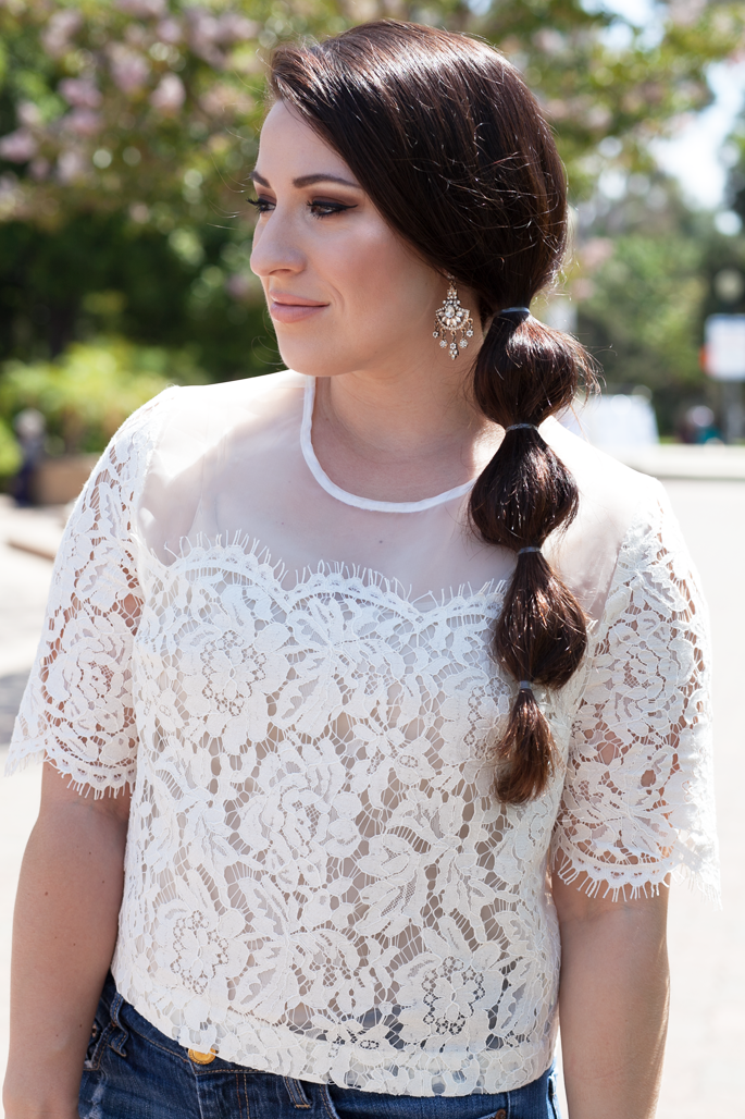 princess jasmine braid, lace top, chandelier earrings, summer makeup, king and kind blog
