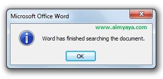 gambar konfirmasi pencarian telah selesai dilakukan di dokumen