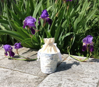 Iris and pouch with Toile de Jouy in my romantic garden