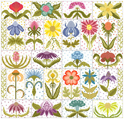 Funky Flower Garden on White fabric