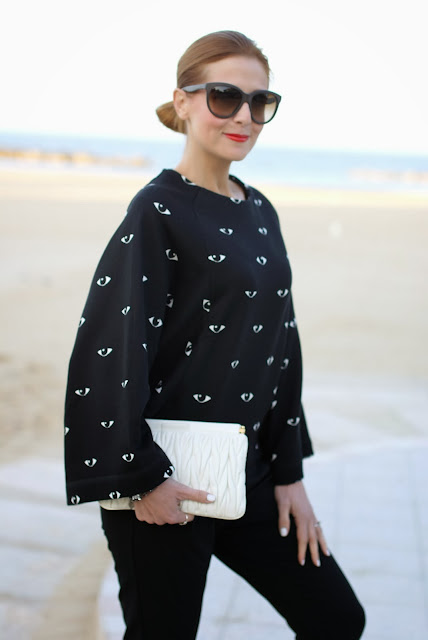 Kenzo eye print kimono sweatshirt, Miu Miu white clutch, Fashion and Cookies, fashion blogger