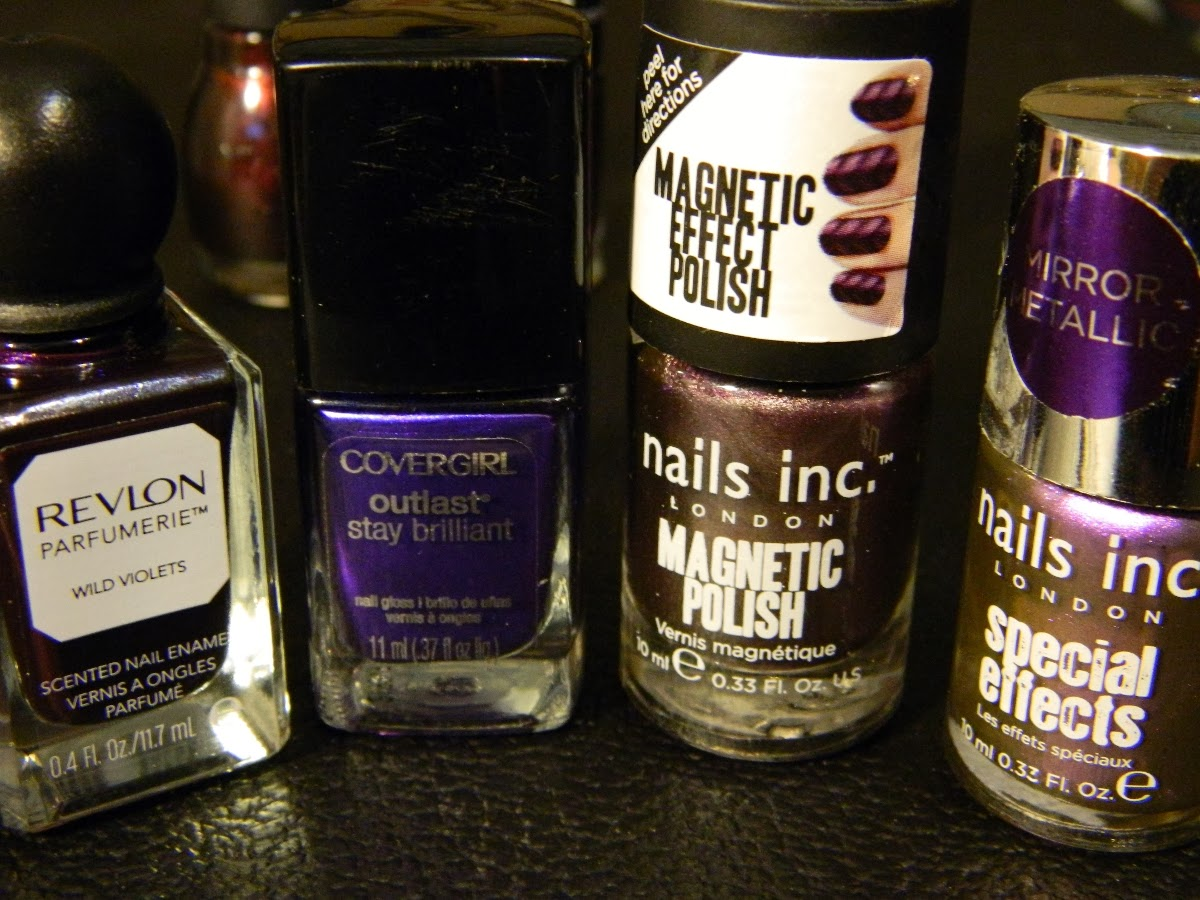 Revlon Parfumerie 150 Wild Violets, CoverGirl Outlast 305 Eternal Oceans, Nails Inc. Magnetic Polish 042 Houses of Parliament, Nails Inc Special Effects 162 Cheyne Walk