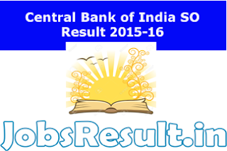 Central Bank of India SO Result 2015-16