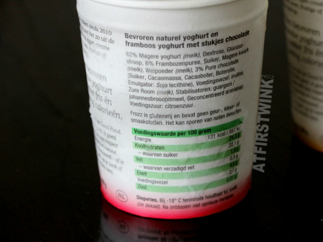 Frozz Frozen Yoghurt ingredients (raspberry chocolate) framboos & chocolade