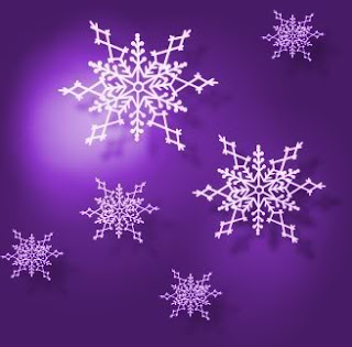Big and small white snowflakes in violet background color image