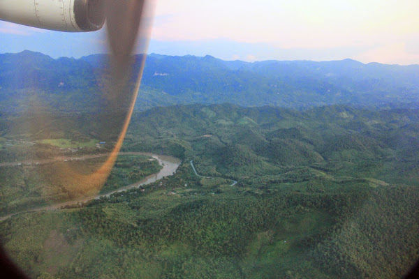 Plane landing at the airport in Luang Prabang
