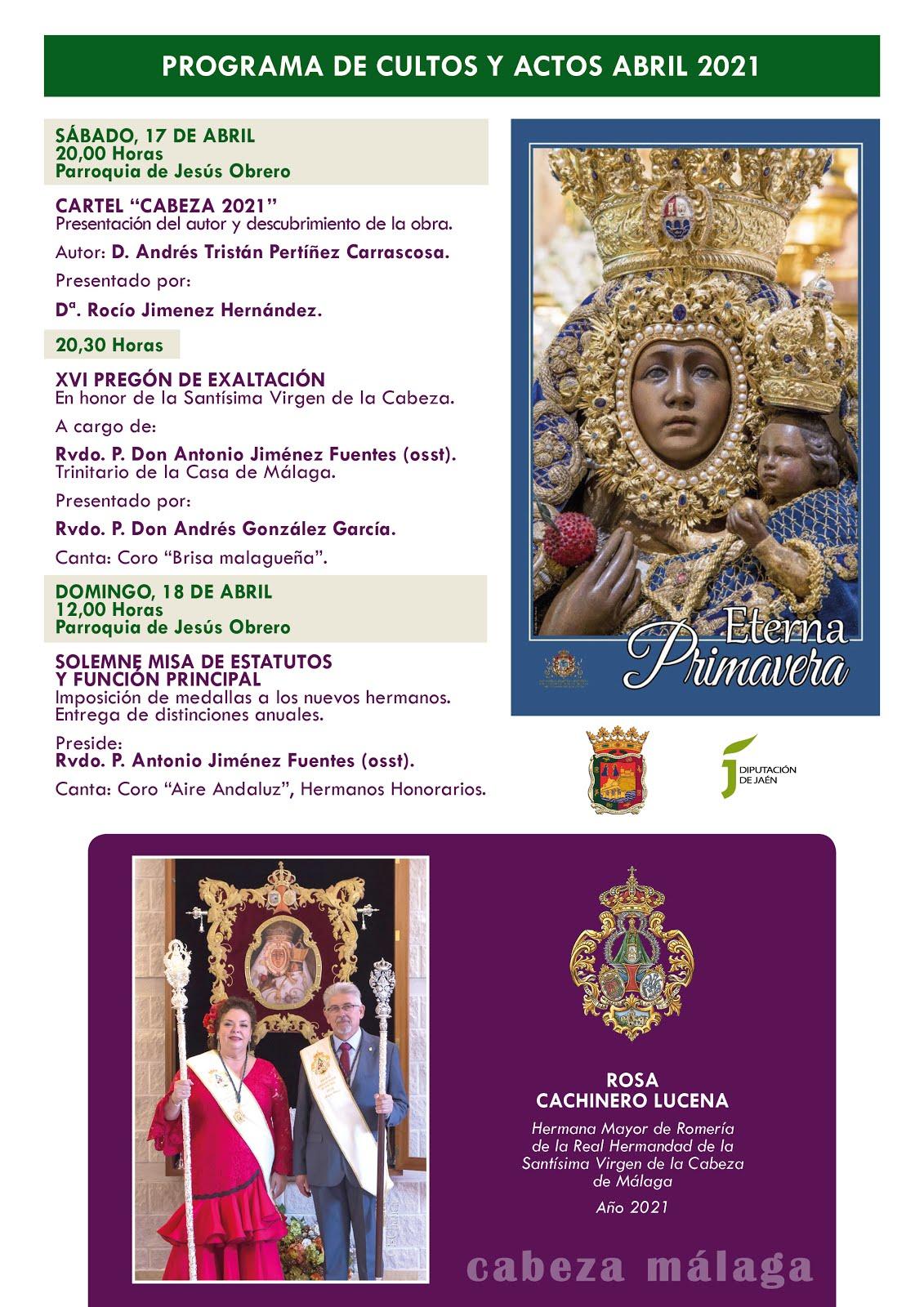Programa de ACTOS Y CULTOS ABRIL 2021. Real Hdad. de Málaga.
