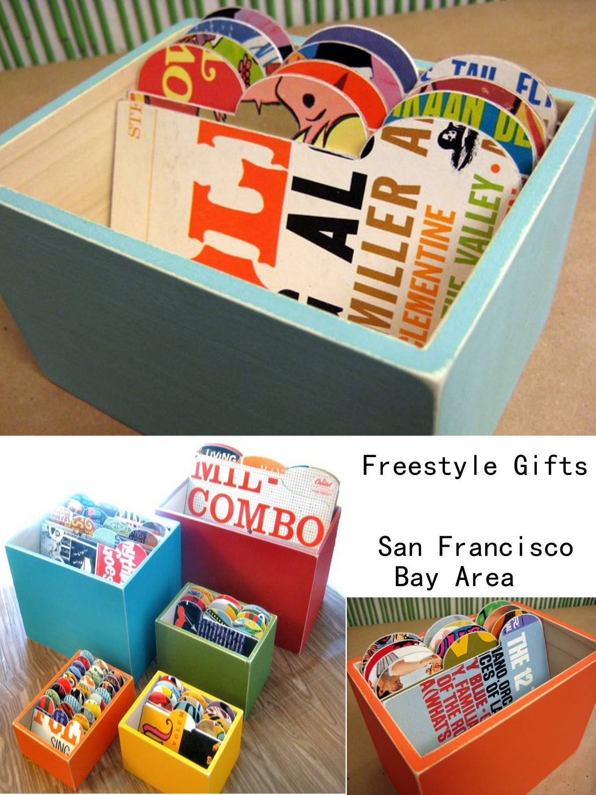 ... Of Handmade Gift Items Using Vintage Papers And Found Objects! I Can  Totally See The Record Album File Storage Containers In Any Cool Office  Space!