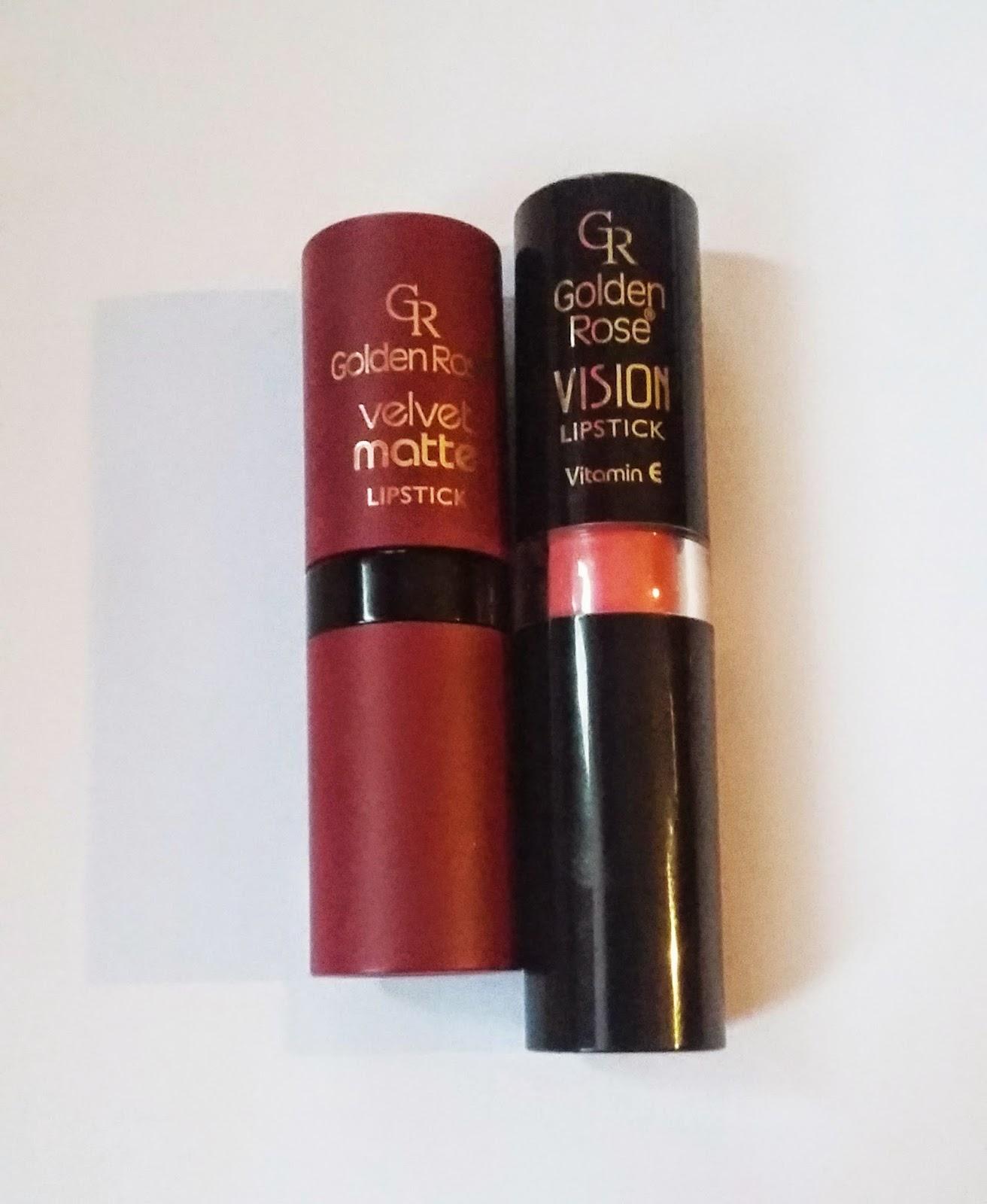 Szminki Golden Rose, przereklamowane? Velvet Matte, Vision Lipstick.
