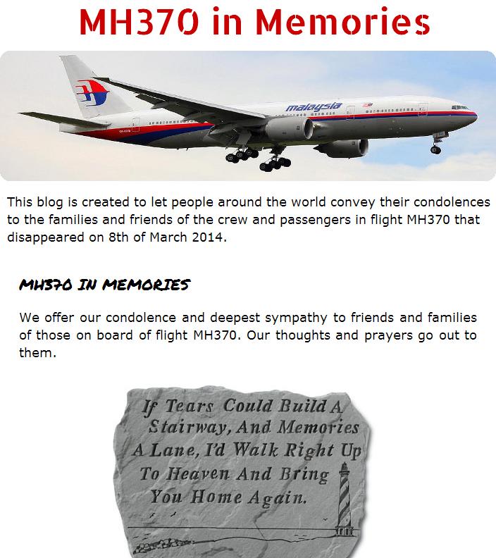 tragedi MH370, MH370 dalam kenangan, MH370 in memories