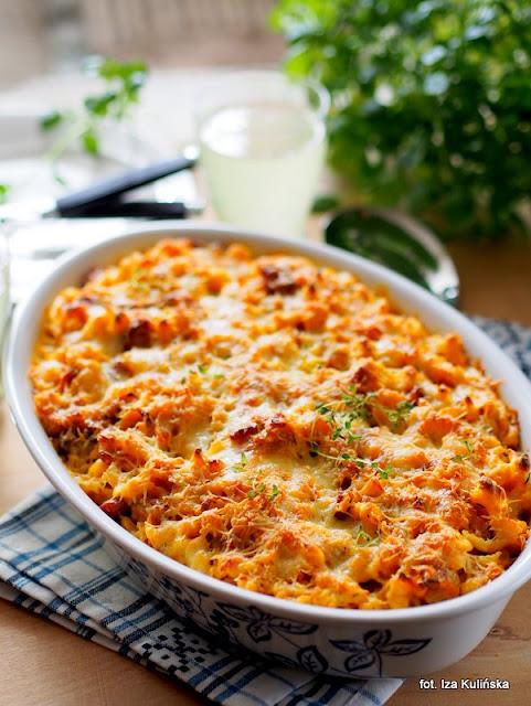 galuszki , kluski jajeczne , sos serowy , zapiekanka , obiad