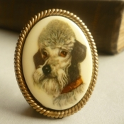 Mona Lisa Dog Brooch