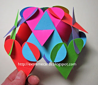 another view of assembly paper globe of hearts