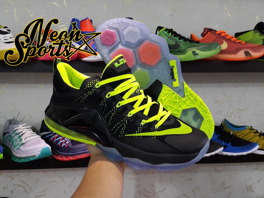 e57c3cedc363 ... low cost sepatu basket nike zoom lebron 12 low black green . 09828 4e10d
