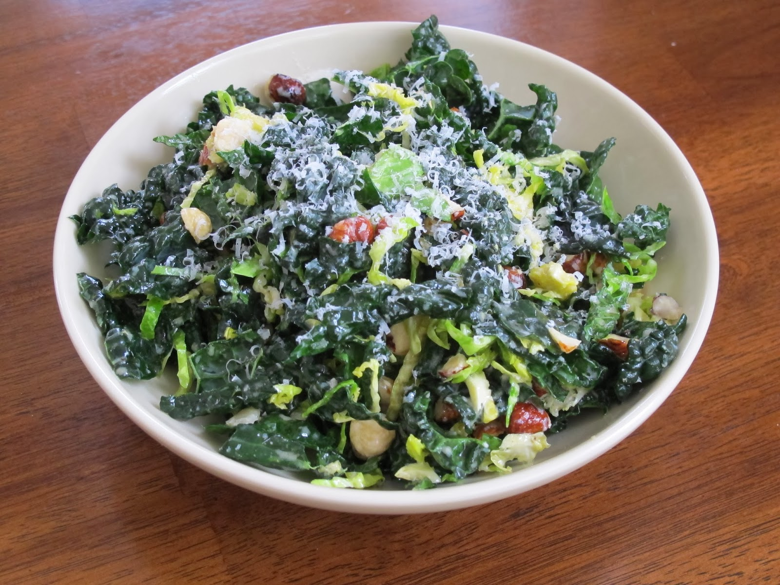 Kale, Brussels Sprout, Hazelnut Salad with Lemon Vinaigrette