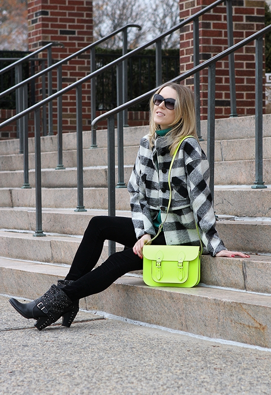 "The Wind of Inspiration Outfit of the Day  Post – ""Checked Coat Meats Studded Boots"" (Asos Checked Coat, Asos Swing Sweater, Blank NYC Corduroy Skinny Pants, Nero Bianco Studded Boots, Yochi Neon Crystal Necklace, The Cambridge Satchel Company Fluoro Satchel, Wittnauer Chronograph Watch, Michael Kors Sunglasses, Sally Hansen Nail Polish)"