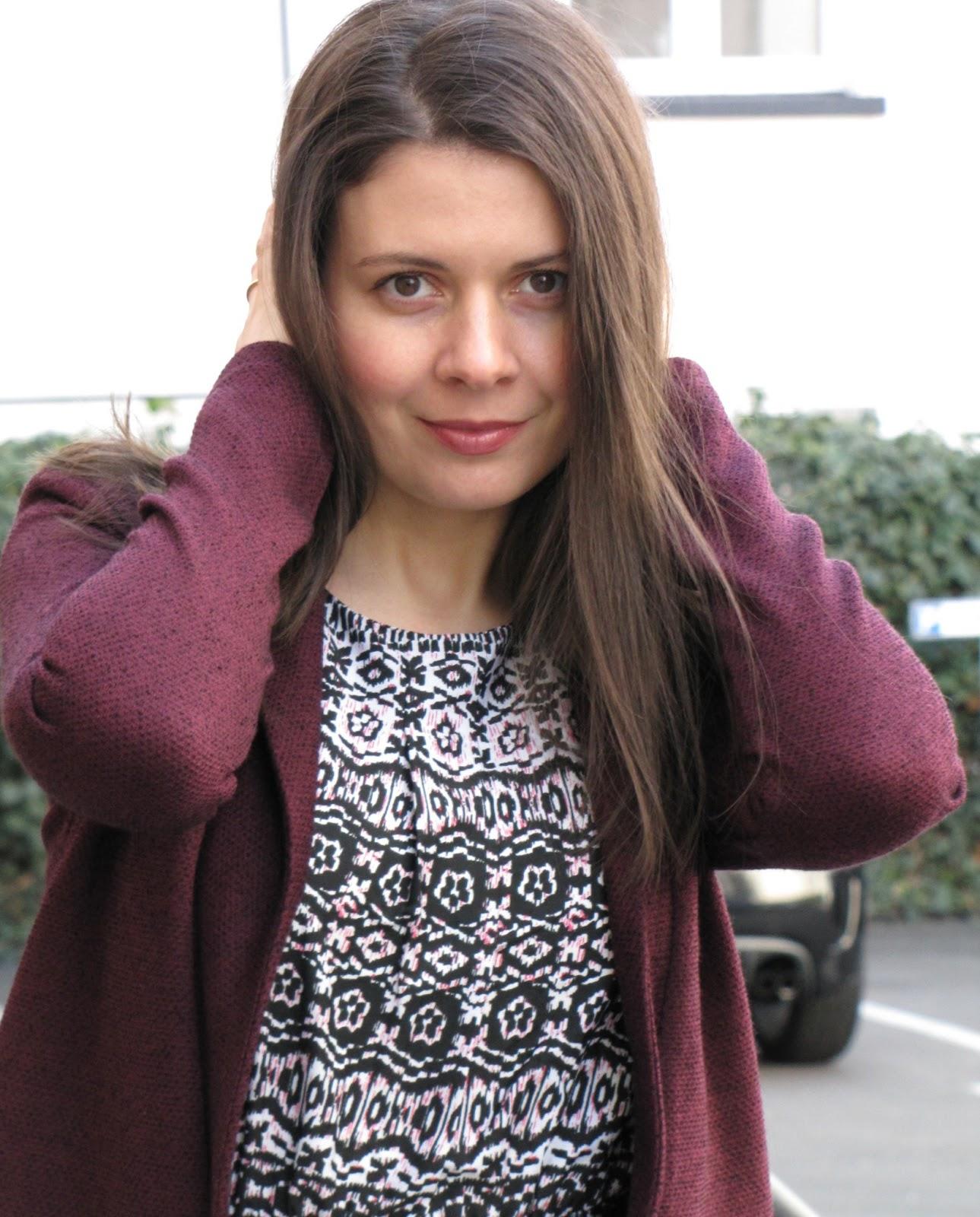 pattern dress, berry colour